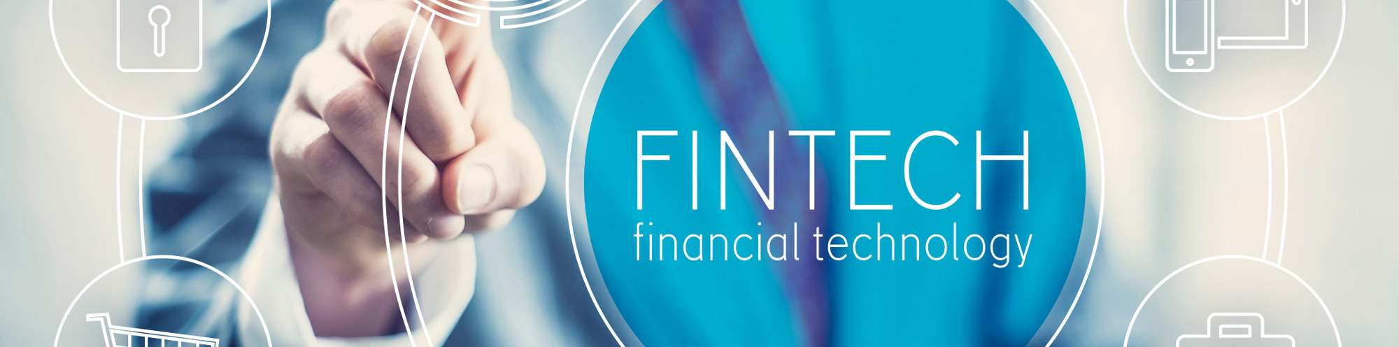 man pointing to fintech